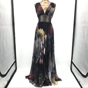 Iceberg Seta Silk black floral evening maxi dress